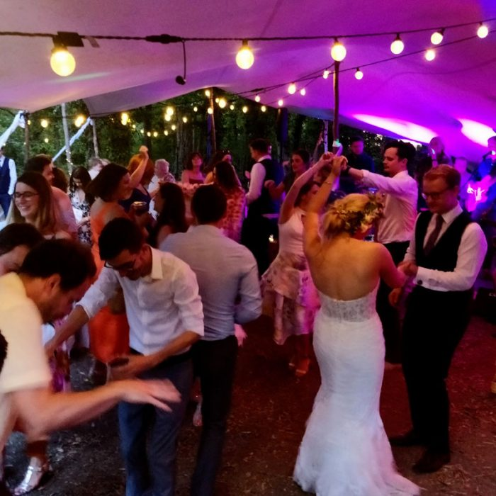 Wedding party dancing under stretch tent.